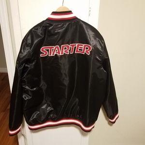 $225 Starter 2XL red and black satin bomber jacket